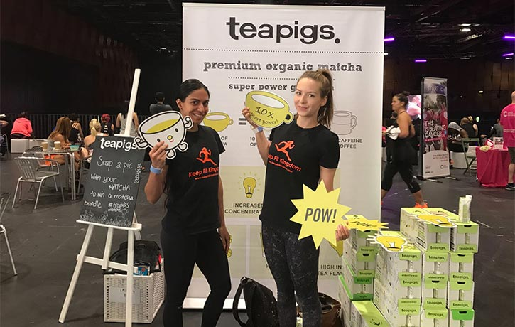 Posing with Teapigs new Matcha Green Tea drinks
