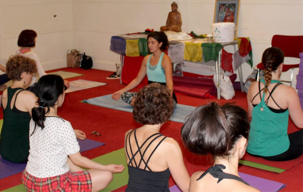 Kayleigh from Gaja Yoga leads a class