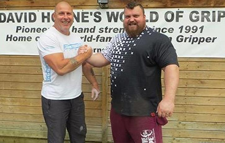 David Horne with the Worlds Strongest Man Eddie Hall