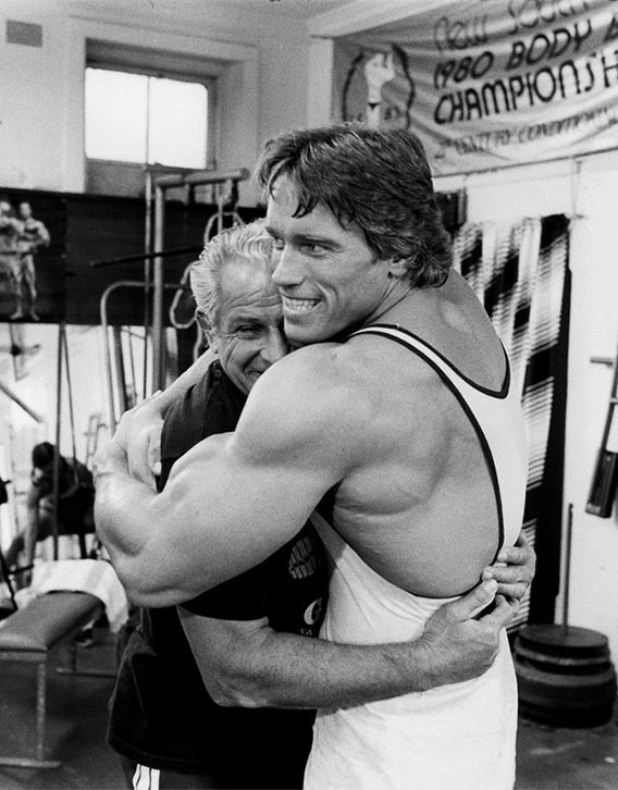 Arnold with Golds Gym founder Joe Gold