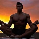 TJ practicing yoga