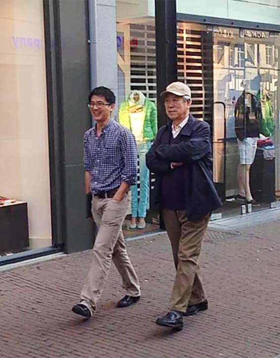 Jon takes a walk with his teacher Dr Wang Ju-Yi