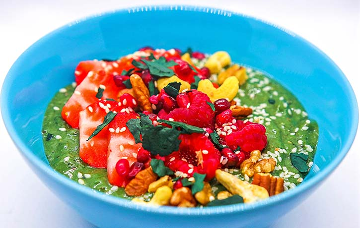The ultimate Buddha bowl with spirulina flakes