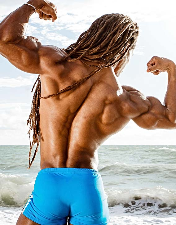 Torres thick muscular back development