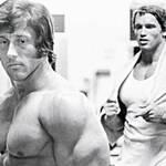 Frank Zane and Arnold Schwarzenegger in background