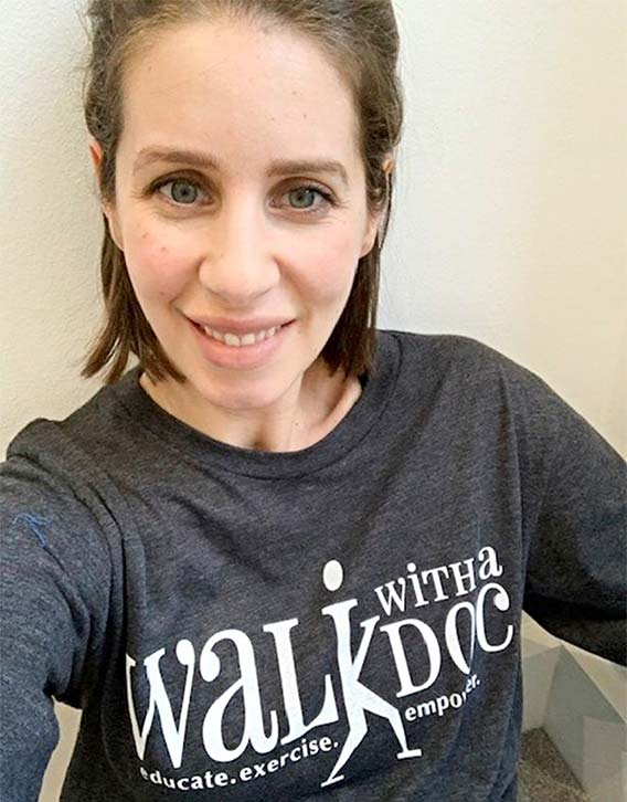 Laura rocking her Walk with a Doc campaign t shirt